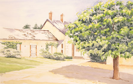 Farmhouse with tree